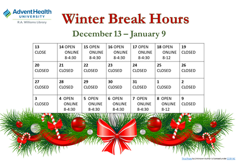 Library Winter Break Hours 2020 December 13 - January 9. Open Dec. 14-17 8 to 4:30; Open Dec. 18 8 to 12, Closed Dec. 19-Jan 3; Open Jan 4-7 8 to 4:30; Open Jan. 8 8 to 12.