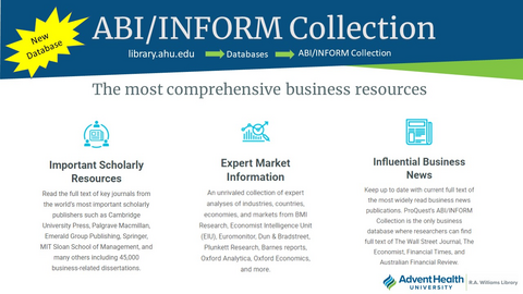 ABI/INFORM, and comprehensive business databases, is now available through the library website. Visit library.ahu.edu/find/databases