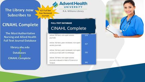 The library now subscribes to CINAHL Complete, the most authoritative nursing and allied health full-text journal databases. 427 full text peer reviewed journals.