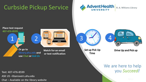 Curbside Pickup Service: 1) Place text request to 407-476-8599 or visit library.ahu.edu and use Ask Us or Ask Us Chat; 2) watch for an email or text notification 3) set up your pickup time 4) drive to AHU campus and we'll bring your book to your car.