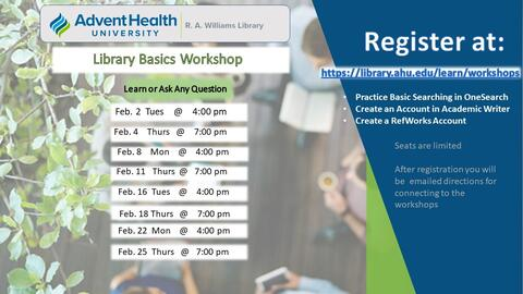 February 2021 Library workshops. Learn or ask any question. Practice basic searching in Onesears. Create an account in Academic Writer. Create a RefWorks account. Times: Feb. 2 at 4pm; Feb. 4 at 7pm; Feb. 8 at 4pm; Feb. 11 at 7pm; Feb. 16 at 4pm; Feb. 18 at 7pm; Feb. 22 at 4pm; Feb. 25 at 7pm. Register at https://library.ahu.edu/learn/workshops.
