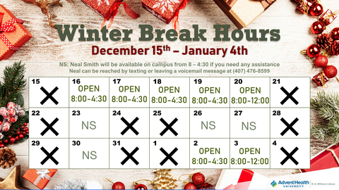 Winter Break Hours December 15th - January 4th