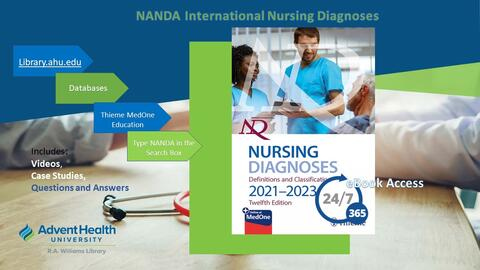 NANDA International Nursing Diagnoses: ebook that includes videos, case studies, questions and answers. Access by going to library.ahu.edu/find/databases and selecting Thieme MedOne Education.